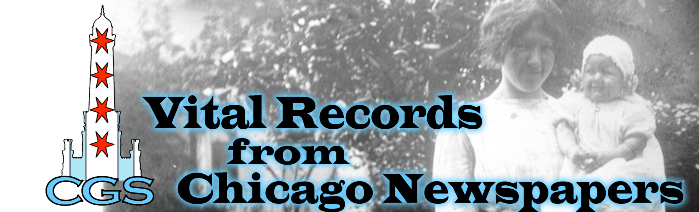 An index of vital records extracted from Chicago newspapers by the Chicago Genealogical Society, covering 1833 forward.